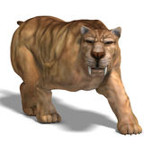 Dinosaur Smilodon. Saber-toothed tiger. 3D render with clipping path and shadow over white vector illustration