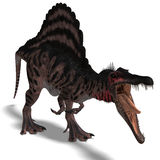 Dinosaur Spinosaurus. 3D render with clipping path and shadow over white vector illustration