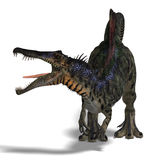 Dinosaur Spinosaurus. 3D render with clipping path and shadow over white Stock Photography