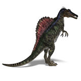 Dinosaur Spinosaurus. 3D render with clipping path and shadow over white stock illustration