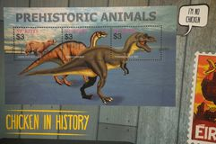 Dinosaur stamps. A photo taken on some dinosaur stamps at the Singapore Philatelic Museum. It is part of the chicken stamps collection Stock Photo