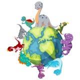 Dinosaur standing around the world vector illustration