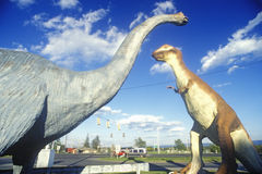 Dinosaur statues at truck stop roadside attraction, WV Royalty Free Stock Photography