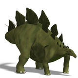 Dinosaur Stegosaurus. 3D render with clipping path and shadow over white Royalty Free Stock Photo