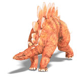 Dinosaur Stegosaurus. 3D render with clipping path and shadow over white Stock Photography
