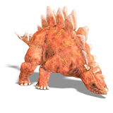Dinosaur Stegosaurus. 3D render with clipping path and shadow over white stock illustration