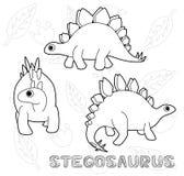 Dinosaur Stegosaurus Cartoon Vector Illustration Monochrome Royalty Free Stock Photos