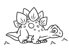 Dinosaur Stegosaurus coloring page cartoon Illustrations Stock Image