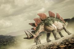 Dinosaur , Stegosaurus. In the wild royalty free stock photo