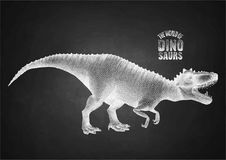 Dinosaur in stippling technique. Graphic Tyrannosaurus Rex. Vector dinosaur isolated on the chalkboard. Animal of the prehistoric period in stippling technique Stock Image
