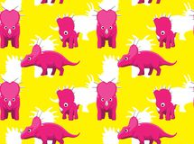 Dinosaur Styracosaurus Cartoon Blue Background Seamless Wallpaper royalty free illustration