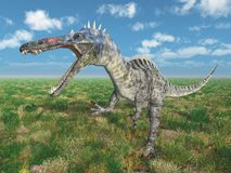 Dinosaur Suchomimus in a landscape royalty free illustration