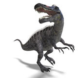 Dinosaur Suchominus. 3D rendering with clipping. Path and shadow over white royalty free illustration