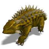 Dinosaur Talarurus. 3D render with clipping path and shadow over white stock illustration