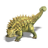 Dinosaur Talarurus. 3D render with clipping path and shadow over white vector illustration