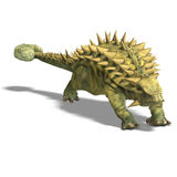 Dinosaur Talarurus. 3D render with clipping path and shadow over white Royalty Free Stock Images