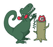 Dinosaur talking on the phone Stock Photos