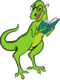 Dinosaur � teacher. Smiling Tyrannosaurus Rex reading a book Stock Photos