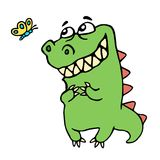 Dinosaur to admire the butterfly. Dinosaur to admire the butterfly illustration. Cute cartoon character Stock Photo