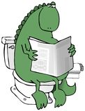 Dinosaur On A Toilet Stock Photo