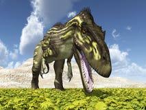 Dinosaur Torvosaurus in a landscape vector illustration
