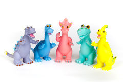 Dinosaur toys. Colorful dinosaur toys, on white background Stock Photography