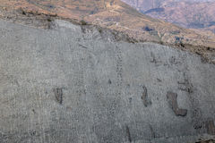 Dinosaur tracks on Cal Orcko Wall - Sucre, Bolivia Stock Photos