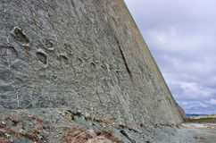 Dinosaur Tracks on the Wall of  Cal Orko, Sucre, Bolivia Stock Photo