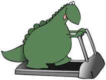Dinosaur On A Treadmill. This illustration indicates a green dinosaur walking on a treadmill Royalty Free Stock Image