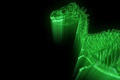 Dinosaur TRex Skeleton in Hologram Wireframe Style. Nice 3D Rendering Royalty Free Stock Photo