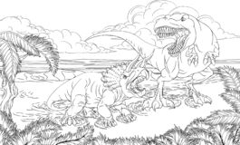 Free Dinosaur TRex Triceratops Scene Coloring Book Page Stock Images - 188160914