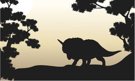 Dinosaur triceratops beautiful scenery of silhouettes. Illustration Stock Images