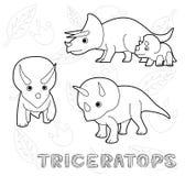 Dinosaur Triceratops Cartoon Vector Illustration Monochrome Royalty Free Stock Images