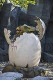 Dinosaur - Triceratops cub in egg. Dinosaur - Triceratops. Automated figures in Dinopark, Krasnodar, Russia Stock Images