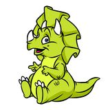 Dinosaur Triceratops green cartoon illustration Stock Image