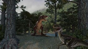 Dinosaur. A tropical prehistoric scene with several dinosaurs Stock Photography