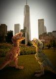 Dinosaur. A tropical prehistoric scene with several dinosaurs Stock Photos