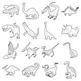 Dinosaur types icons set, outline style Stock Photos