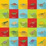 Dinosaur types signed name icons set, flat style. Dinosaur types signed name icons set. Flat illustration of 25 dinosaur types signed name vector icons for web Royalty Free Stock Photography