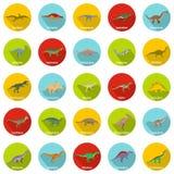 Dinosaur types signed name icons set, flat style. Dinosaur types signed name icons set. Flat illustration of 25 dinosaur types signed name vector icons circle Royalty Free Stock Images