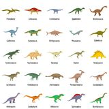 Dinosaur types signed name icons set vector isolated. Dinosaur types signed name icons set. Flat illustration of 25 dinosaur types signed name vector icons Stock Image