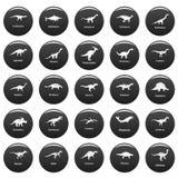 Dinosaur types signed name icons set vetor black. Dinosaur types signed name icons set. Simple illustration of 25 dinosaur types signed name vector icons black Stock Photos