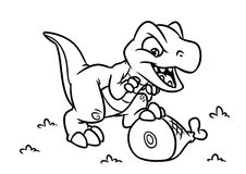 Dinosaur  Tyrannosaur coloring page cartoon Illustrations Stock Images