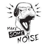Dinosaur tyrannosaur in headphones. Music fan dinosaur tyrannosaur in headphones.Prints design for t-shirts.Make some noise Royalty Free Stock Photos