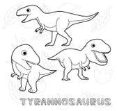 Dinosaur Tyrannosaurus Cartoon Vector Illustration Monochrome Royalty Free Stock Photo