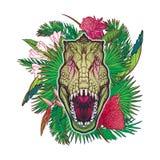 Dinosaur tyrannosaurus roaring head on tropical leaves Stock Image
