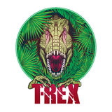 Dinosaur tyrannosaurus roaring head on tropical leaves Stock Photography