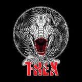 Dinosaur tyrannosaurus roaring head on tropical leaves Stock Images