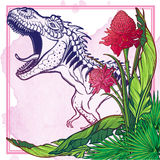 Dinosaur tyrannosaurus roaring on tropical leaves Stock Photos