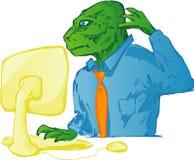 Dinosaur using computer. Dinosaur in business wear using a computer royalty free illustration